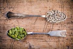 健康superfood :南瓜籽,在匙子的向日葵种子 免版税库存图片