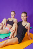 健身、体育、训练和生活方式概念-微笑做在席子的两名运动的妇女锻炼在健身房 免版税库存照片