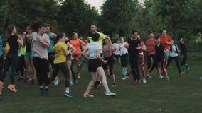 健身人人群做边的在城市公园绿色草坪跳 股票视频