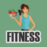 健身人和健康食物象图象 皇族释放例证