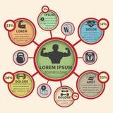 健身体型体育infographics 免版税库存图片