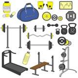 健身体育健身房锻炼设备锻炼集合 免版税库存照片