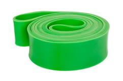 健身体育的绿色抵抗带,隔绝在白色背景 图库摄影