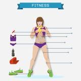 健身信息图表元素,健身背景, 库存照片