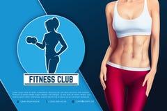 健身俱乐部象征网横幅设计  运动妇女剪影有哑铃的 库存照片