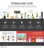 健身俱乐部infographic平的传染媒介例证 3d背景概念例证查出的介绍回报了白色 库存图片