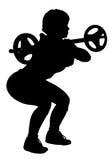健身做杠铃蹲坐的妇女传染媒介 免版税库存图片