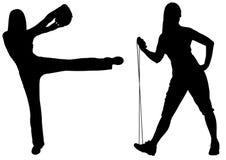 健身剪影向量妇女 免版税库存图片