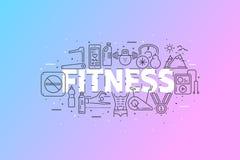 健身和体育 与冲程线象云彩的横幅 免版税库存照片