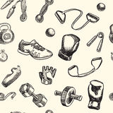 健身和健身房乱画手拉的样式 背景无缝的向量 库存图片