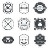健身和健身房主题的标签设计集合元素 免版税库存照片