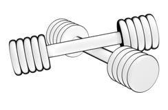 健身哑铃 对使用的设备电静电计图象评定潜在的概要 查出在空白背景 免版税库存图片