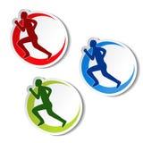 健身圆贴纸-赛跑者剪影 免版税库存图片