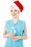 健身圣诞老人妇女 免版税库存照片