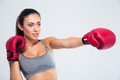 健身在手套的妇女拳击画象  免版税库存图片