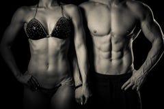 健身夫妇在演播室摆在-适合的男人和妇女 库存照片