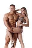 年轻健身夫妇画象  图库摄影