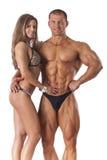 年轻健身夫妇画象  库存图片