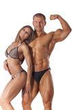 年轻健身夫妇画象  库存照片