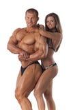 年轻健身夫妇画象  免版税库存图片