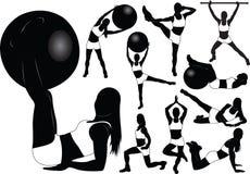 健身女孩剪影向量 免版税图库摄影
