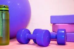 健身工具-球、桃红色和紫色立方体、哑铃和一个瓶在桃红色席子,文本的自由空间的水 免版税库存图片