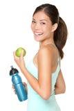 健身愉快的微笑的妇女 库存照片