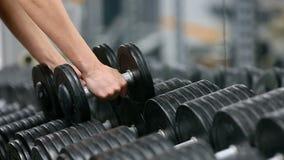 健身房妇女力量训练举的哑铃衡量准备好锻炼锻炼 女性健身女孩行使 影视素材