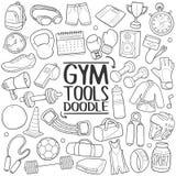 健身房工具健身传统乱画象手凹道集合 免版税库存照片