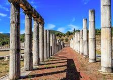 健身房废墟在古老墨西拿,希腊 免版税库存照片