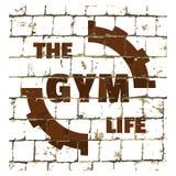 健身房生活,体育健身在风格化砖墙打印的健身房行情 您的设计的织地不很细题字 向量 库存例证
