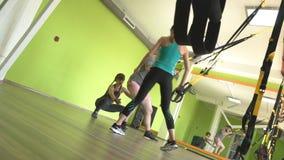 健身房的人们订婚TRX圈并且执行在三头肌的一引伸锻炼,肌肉加强 股票视频