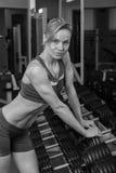 健身房的美丽的金发碧眼的女人 免版税图库摄影