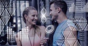 健身房的运动适合人民以健康连接 免版税库存图片