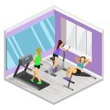 健身房等量内部  平的3d例证 库存图片