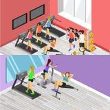 健身房等量内部  平的3d例证 免版税库存照片