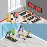 健身房等量内部  平的3d例证 库存照片