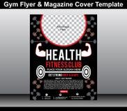 健身房飞行物&杂志封面模板 库存图片