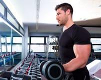 健身房锻炼二头肌健身的哑铃人 库存照片