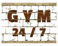 健身房24 7,体育健身在风格化砖墙打印的健身房行情 您的设计的织地不很细题字 向量 库存例证