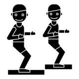 健身教练员-教练-健身房象,传染媒介例证,在被隔绝的背景的黑标志 库存例证