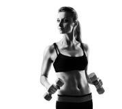 健身模型剪影 免版税图库摄影