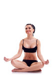 健身白人妇女瑜伽禅宗 免版税库存图片