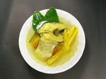 健身的健康食品 草本煮沸的鱼 姜黄鱼 免版税库存照片