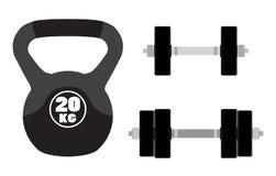 健身的, crossfit,健身房运动器材 杠铃,哑铃 免版税库存照片