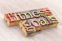 健身目标在木类型的词摘要 库存照片