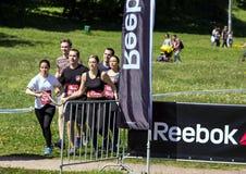 健身节日关于Reebok的在莫斯科公园 赛跑者关闭在节日 体育生活方式 免版税库存照片