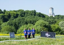 健身节日关于Reebok的在莫斯科公园 赛跑者关闭在节日 体育生活方式 库存图片
