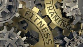健身训练概念 金子和银色链轮背景例证 3d回报 皇族释放例证