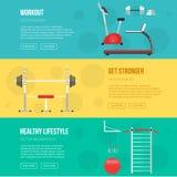 健身训练和健身房被设置的俱乐部横幅 健身类设备 健身房健康生活方式概念 体育存货 免版税图库摄影